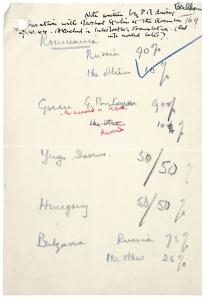 Note written by Winston Churchill in the Kremlin on 9 October 1944 with the division of spheres of influence in the Balkans. The National Archives, UK