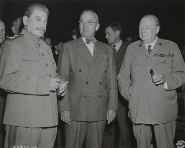 Potsdam Conference of the Three Powers. From left to right: Chairman of the Council of People's Commissars of the USSR Joseph Stalin, US President Harry S. Truman, and British Prime Minister Winston Churchill.  July 1945.  RGASPI