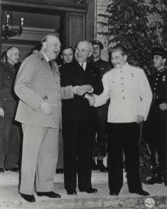 Potsdam Conference of the Three Powers. From left to right: British Prime Minister Winston Churchill, US President Harry S. Truman, and Chairman of the Council of People's Commissars of the USSR Joseph Stalin. July 1945. RGASPI
